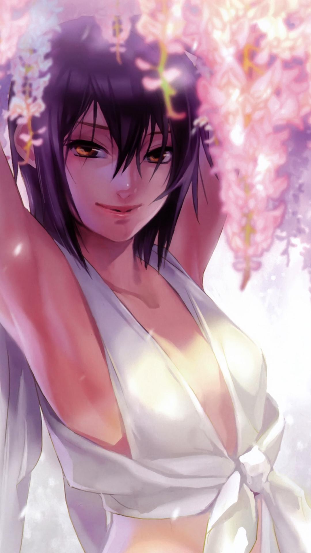 Anime Art Girl Flower Cute White