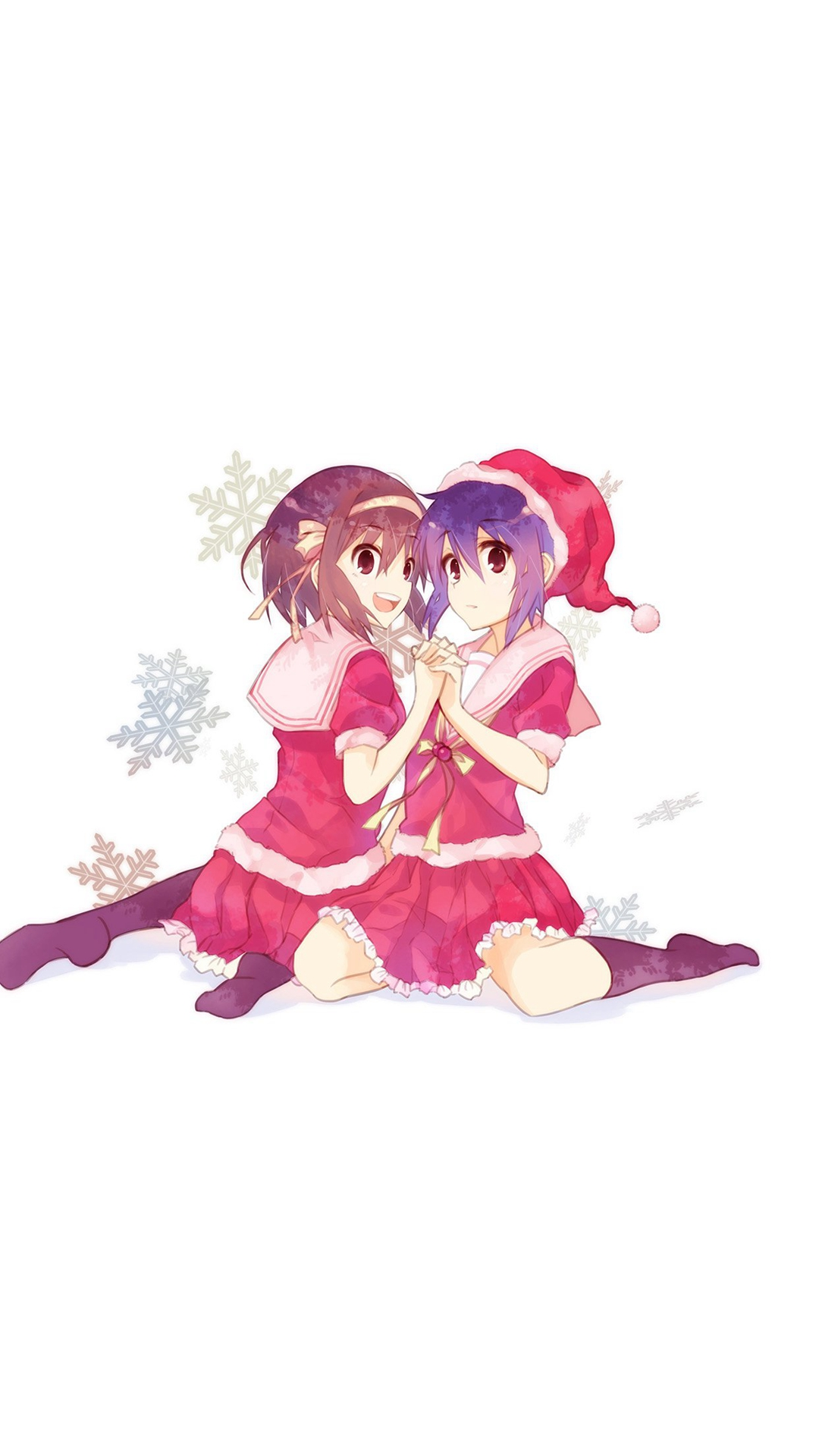 Cute Anime Chirstmas Art Illust Girls Wallpapers For Iphone