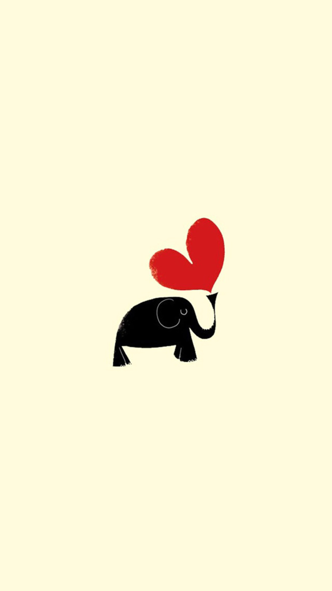 Cute Little Dark Elephant Red Love Heart Drawn Art