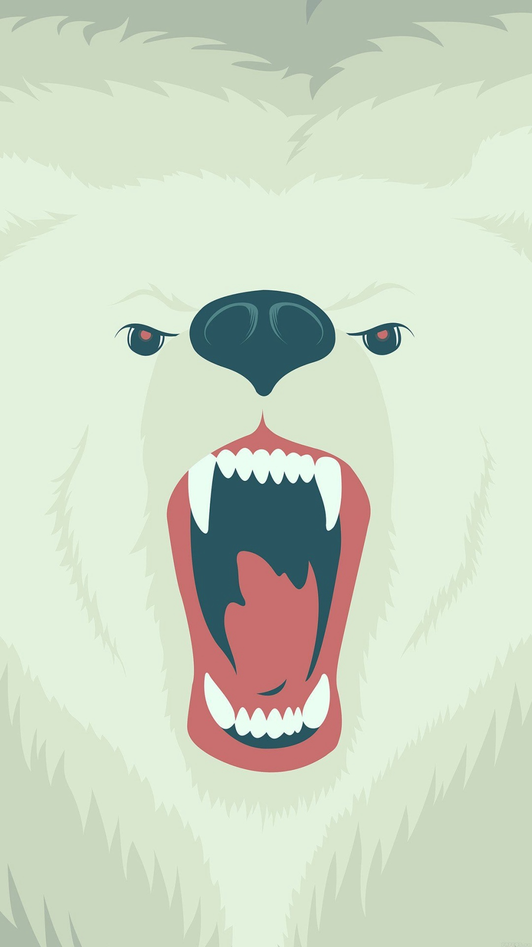Fierce Polar Bear Winter Cartoon Illust