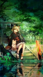 Girl And Dog Green Nature Anime Art
