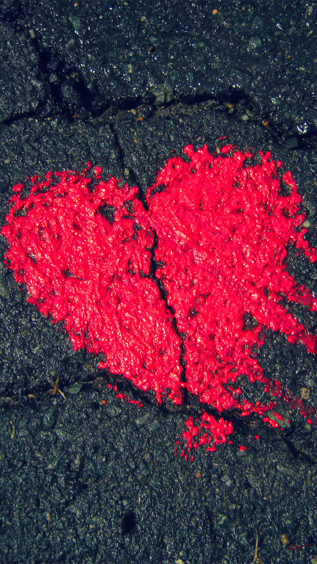 Heart Shape On Asphalt