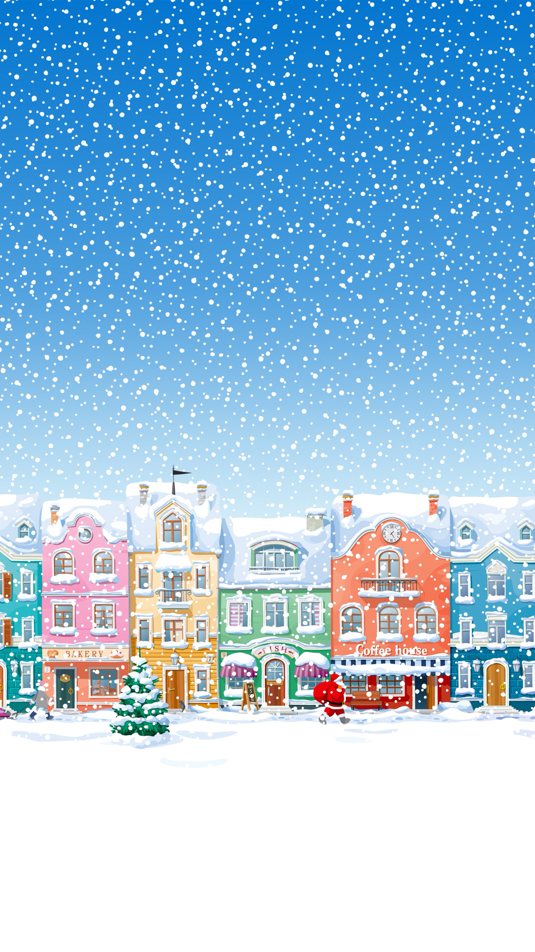 Snowy Town Santa Claus Delivering Christmas Presents Wallpapers