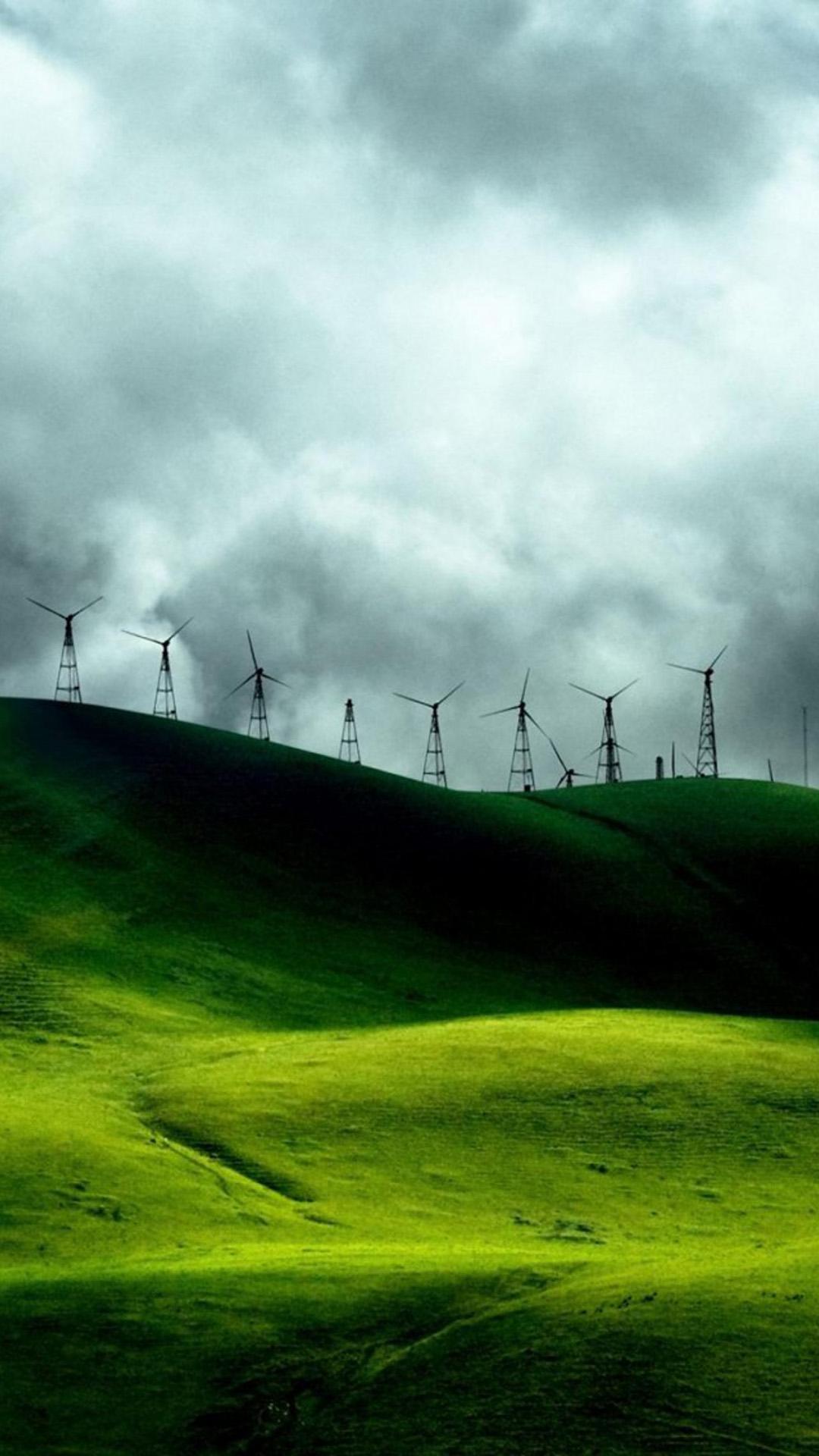 Turbines Landscape Mountains