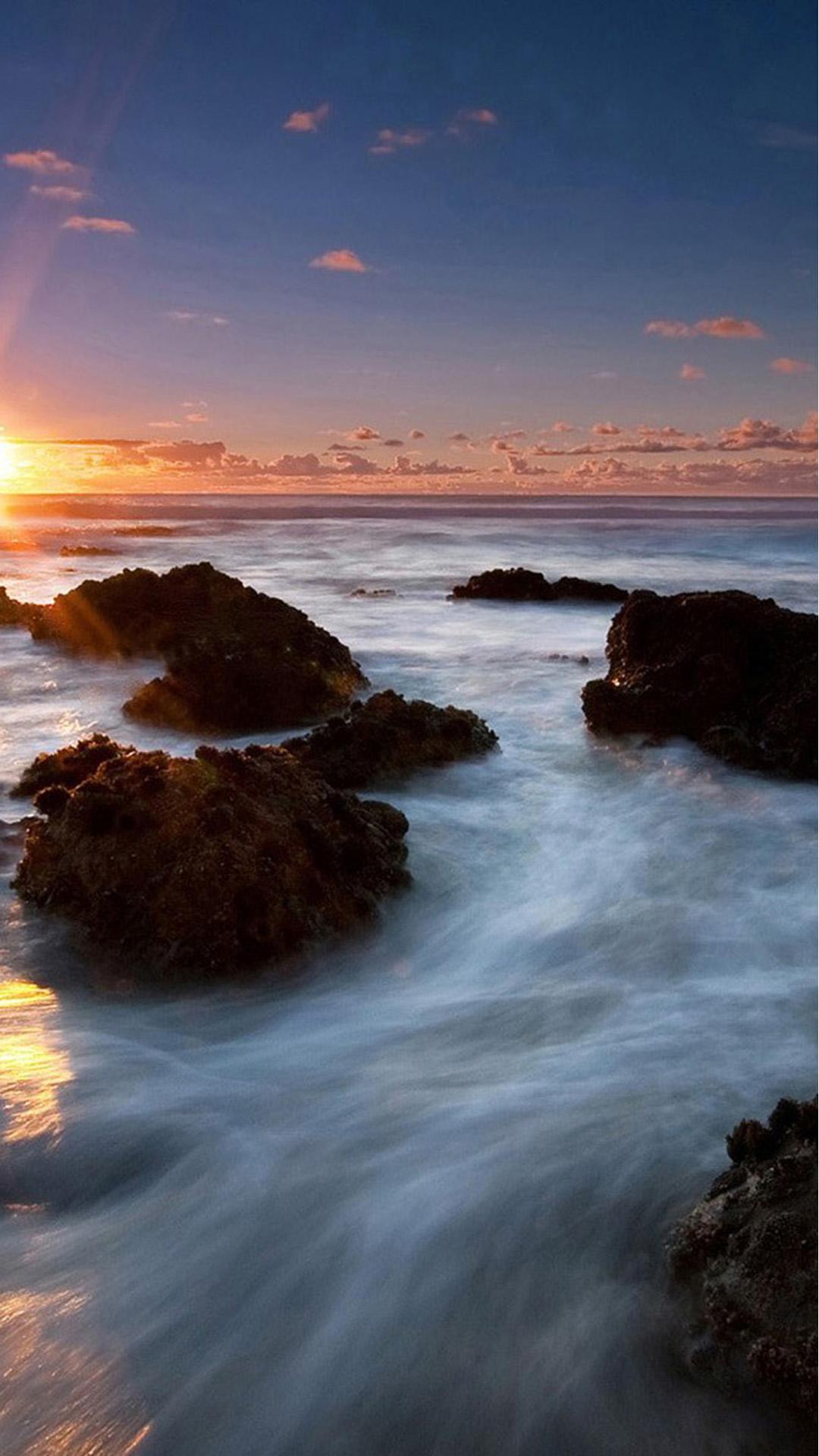 Beach Sunset Sea Long Exposure