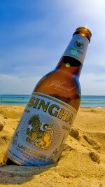 Summer beach beer bottle