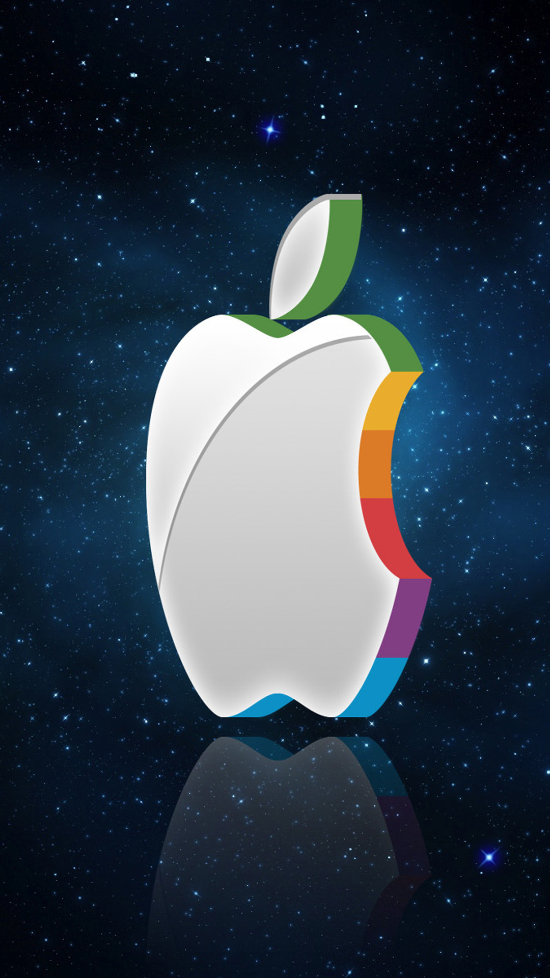 3d apple logo in space - walls iphone