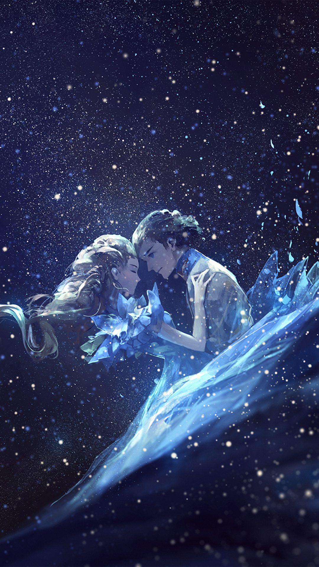 Anime Kiss Love Blue Girl Boy Illustration Art