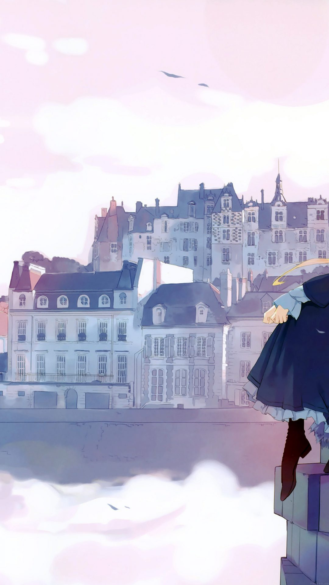 Anime Thinking Girl Lake Illust Art