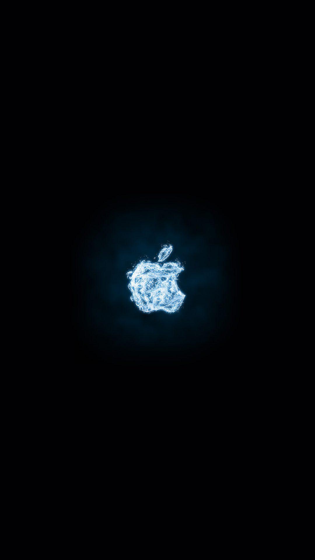 Apple Logo Dark Water Blue Art Illustration