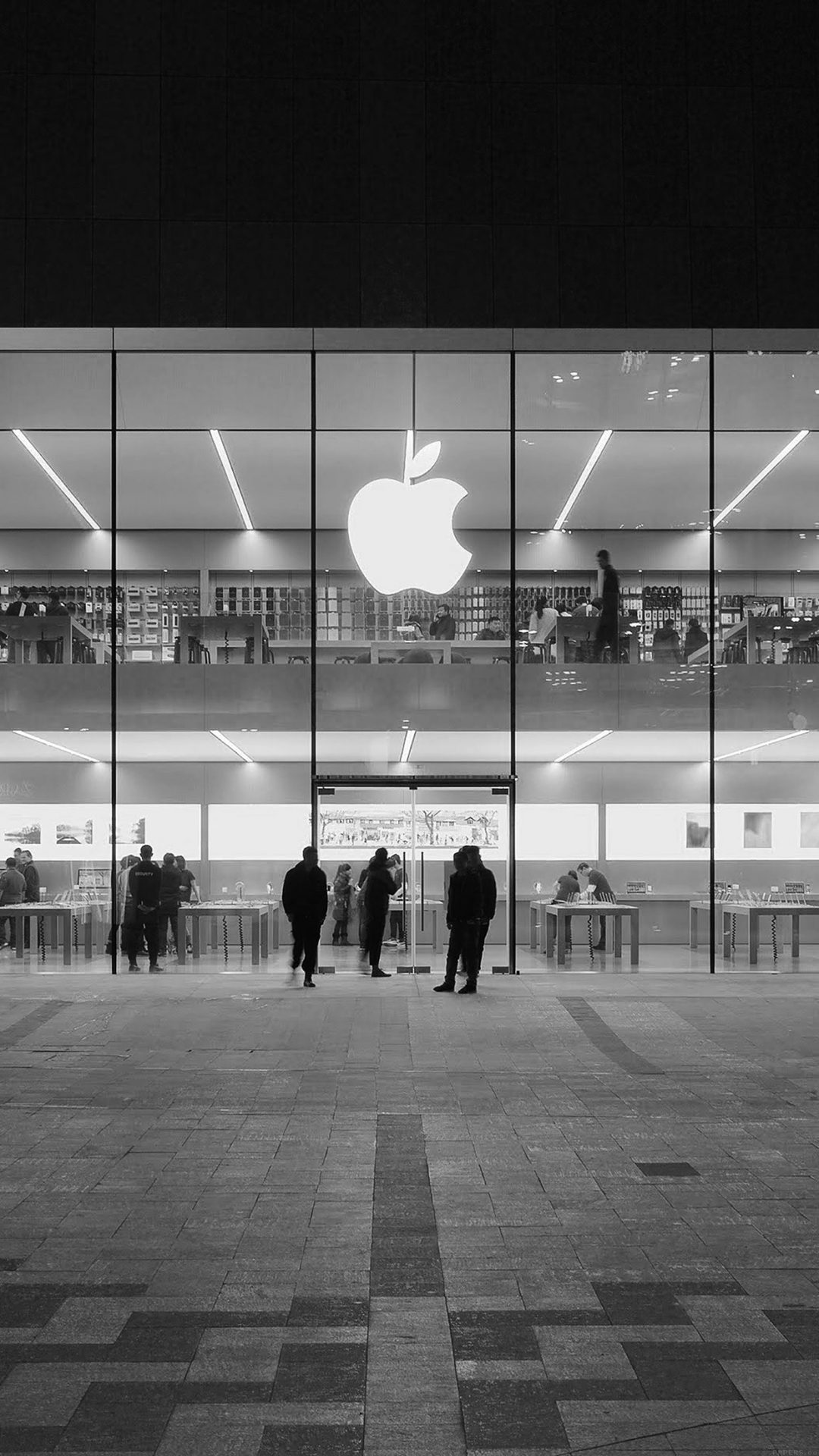 Apple Store Front Bw Dark Architecture City