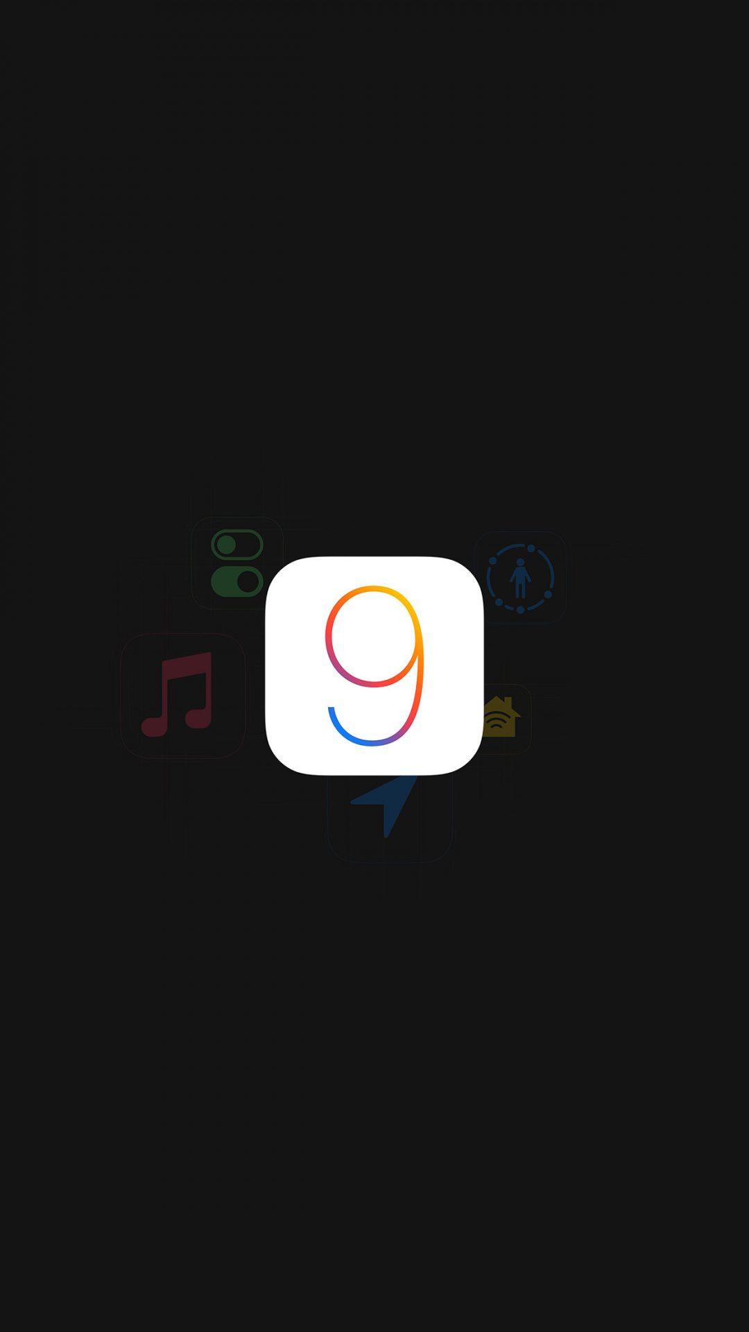 Apple IOS9 Logo Dark Simple Art