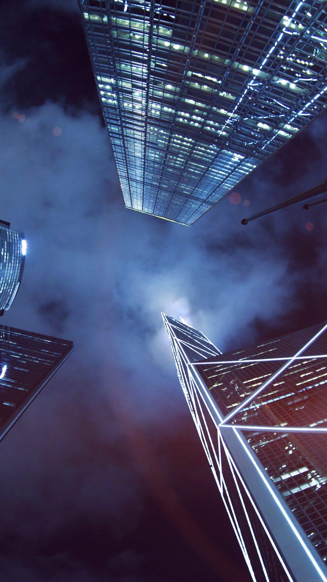 Buildings Blue Flare Night City Sky