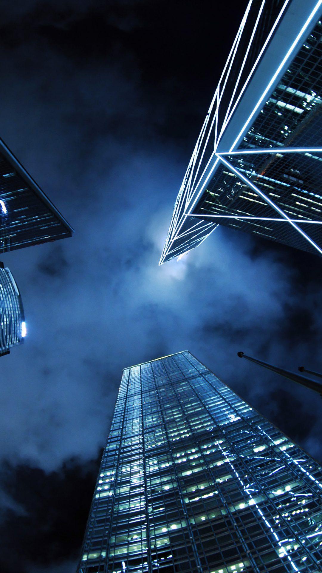 Buildings Blue Night City Sky