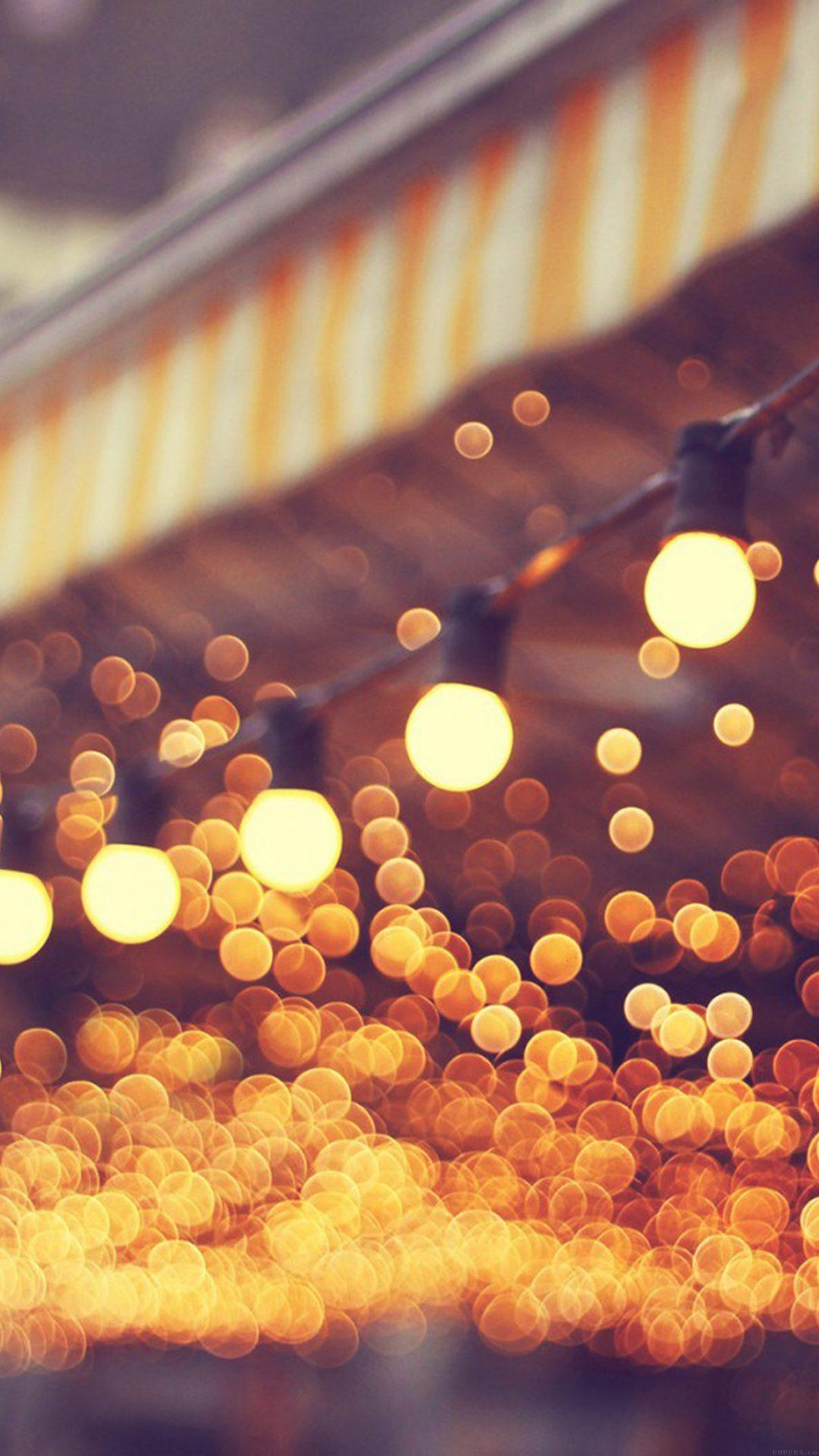 City Light Blue Bulbs Romantic Street