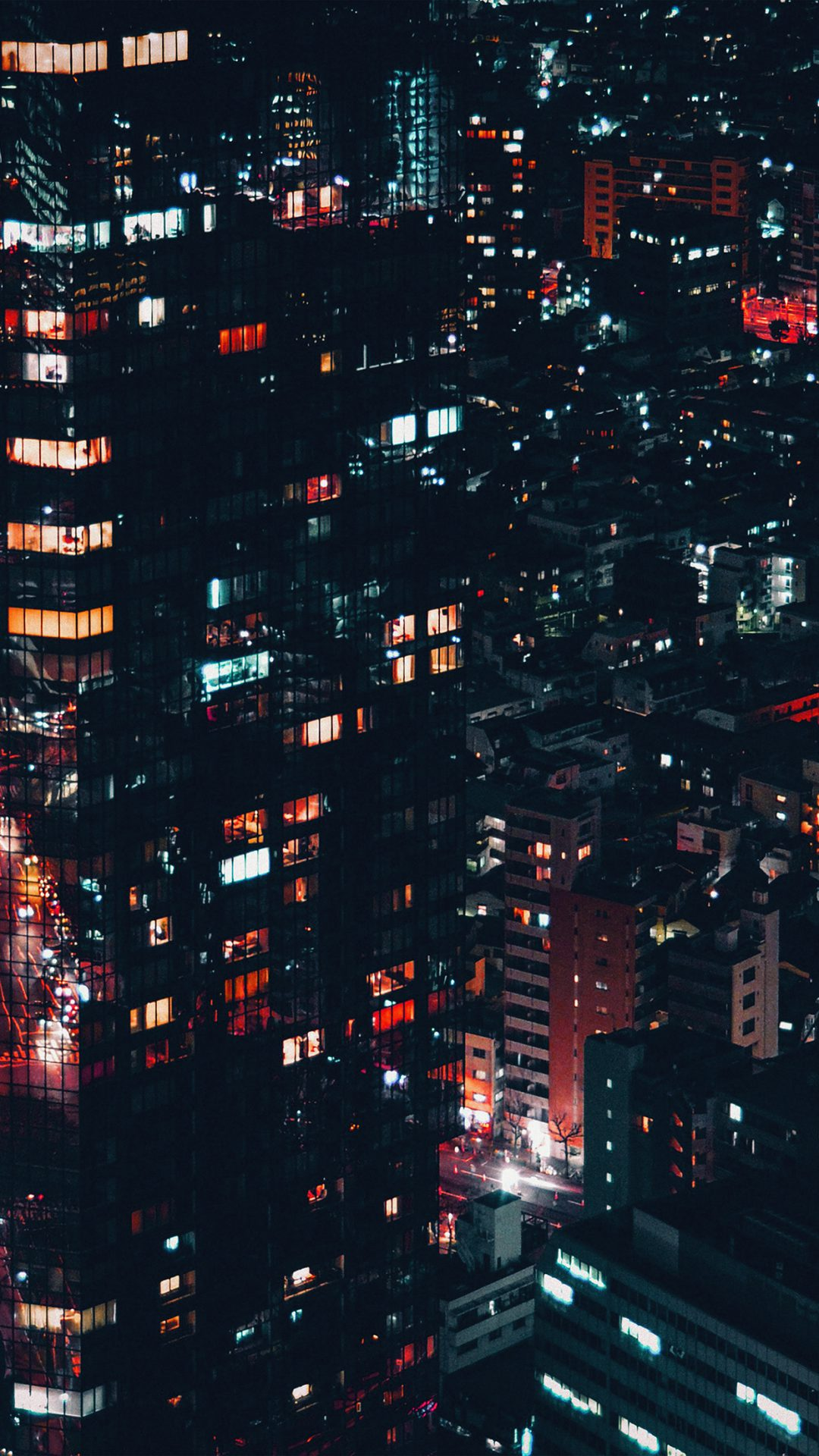 City Night Lights Building Pattern Red