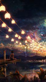 Firework Girl Dark Night Anime Art Illust