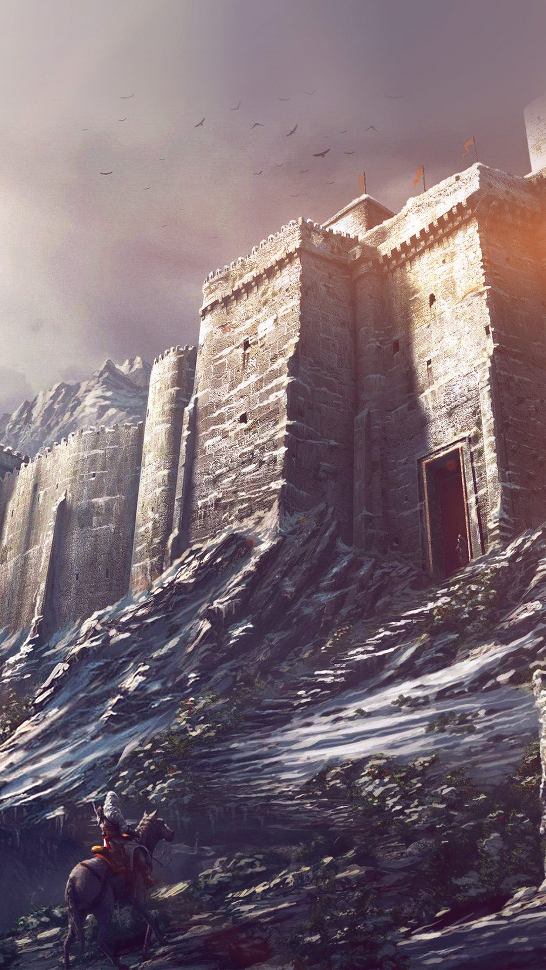 Game Illustration Castle Snow Winter Flare