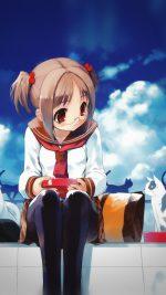 Girl And Cat Anime Illust Art Blue Day