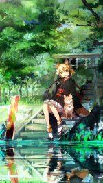 Girl And Dog Green Anime Art Illust