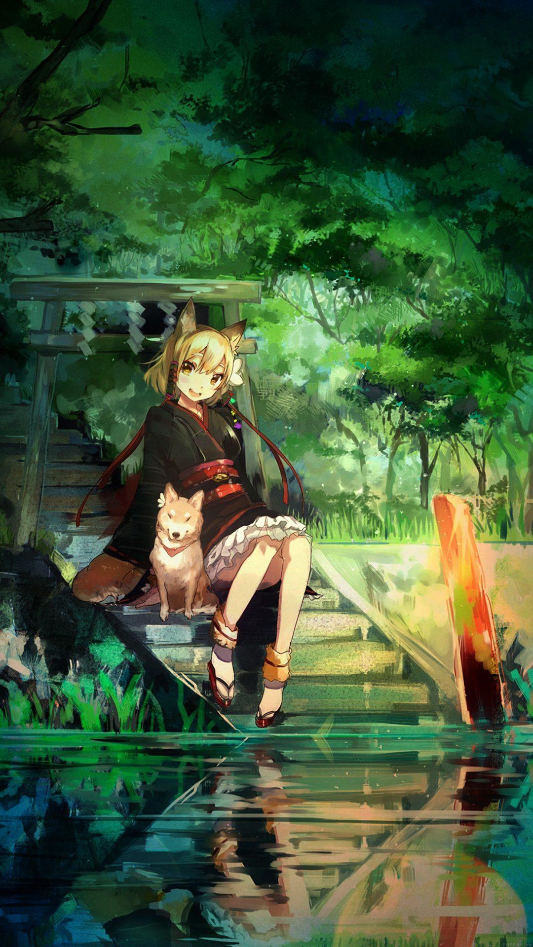 Girl And Dog Green Nature Anime Art Illust