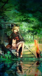 Girl And Dog Green Nature Anime Art Illust