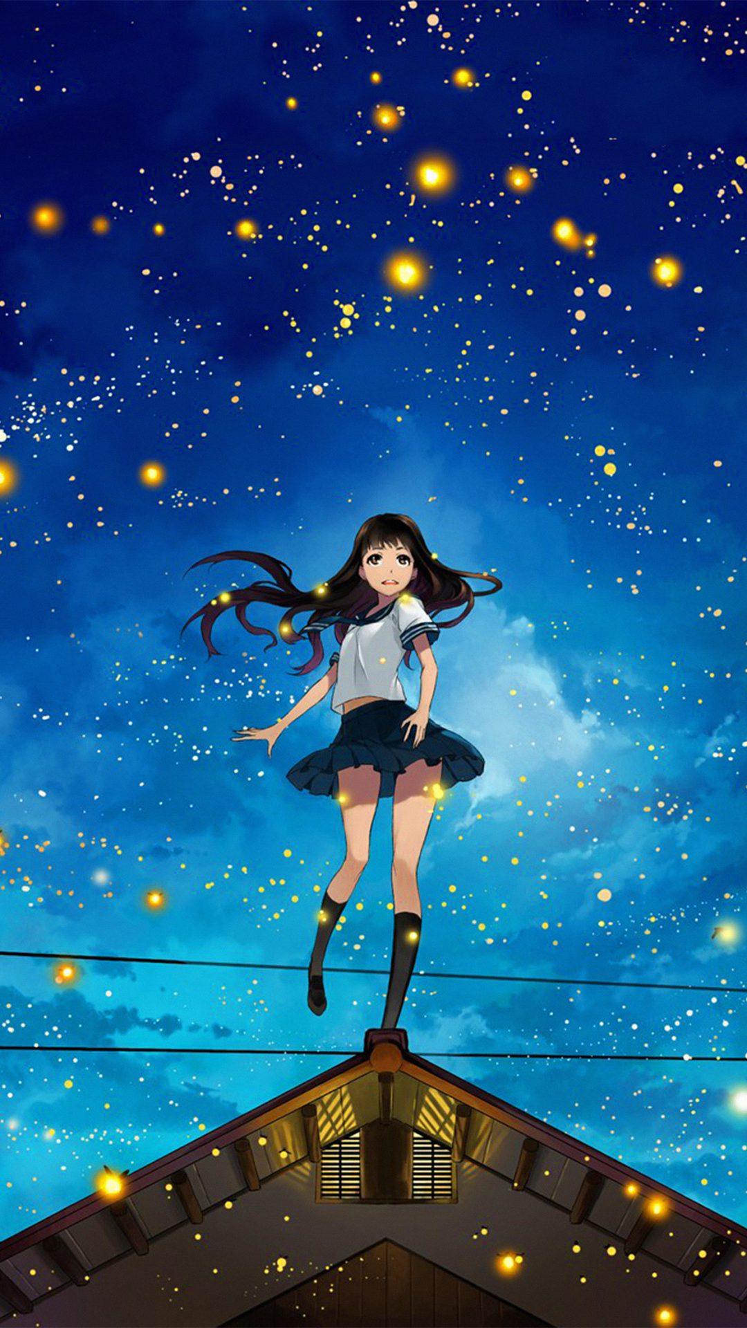 Girl Anime Star Space Night Illustration Art