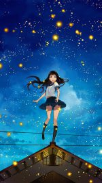 Girl Anime Star Space Night Illustration Art