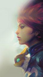 Girl Illust Anime Art Paint Fly Red Hair