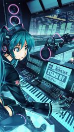 Hatsune Miku Anime Girl Train Blue Art Illustration