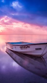 Nature Sea Beach Boat Alone Sunset Blue Pink