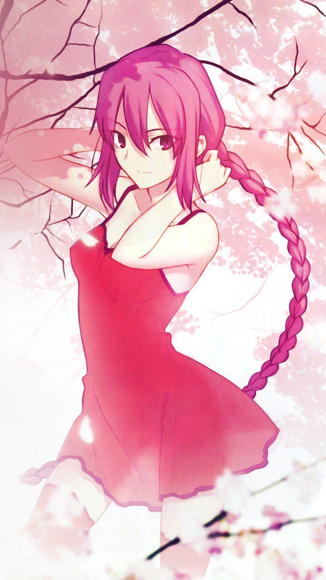 Pink Girl Anime Art Illustration Flower Blossom Flare