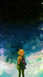 Starry Night Illust Anime Girl