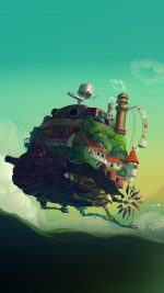 Studio Ghibli Castle Anime Green Peace Art Illustration