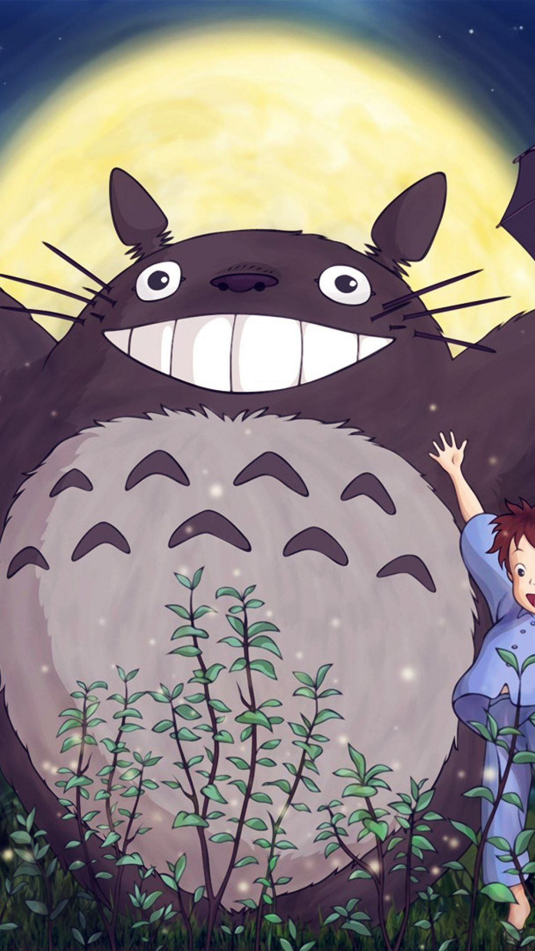 Totoro Forest Anime Cute Illustration Art Blue