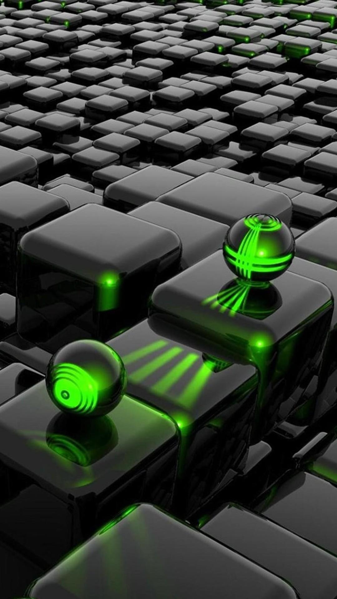 3D Cubes And 3D Green Laser