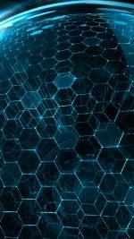 3D World Hexagon Art Blue