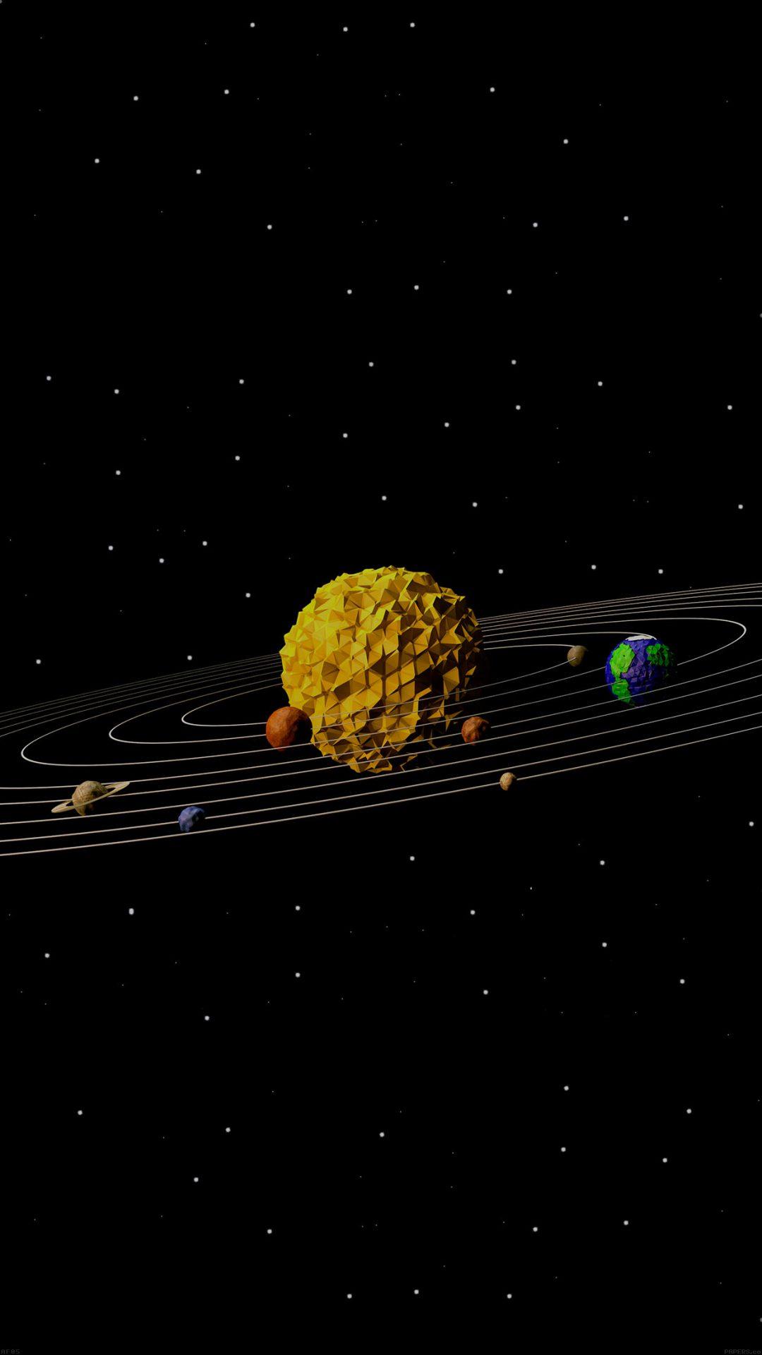 3d Solar System Space Art Minimal
