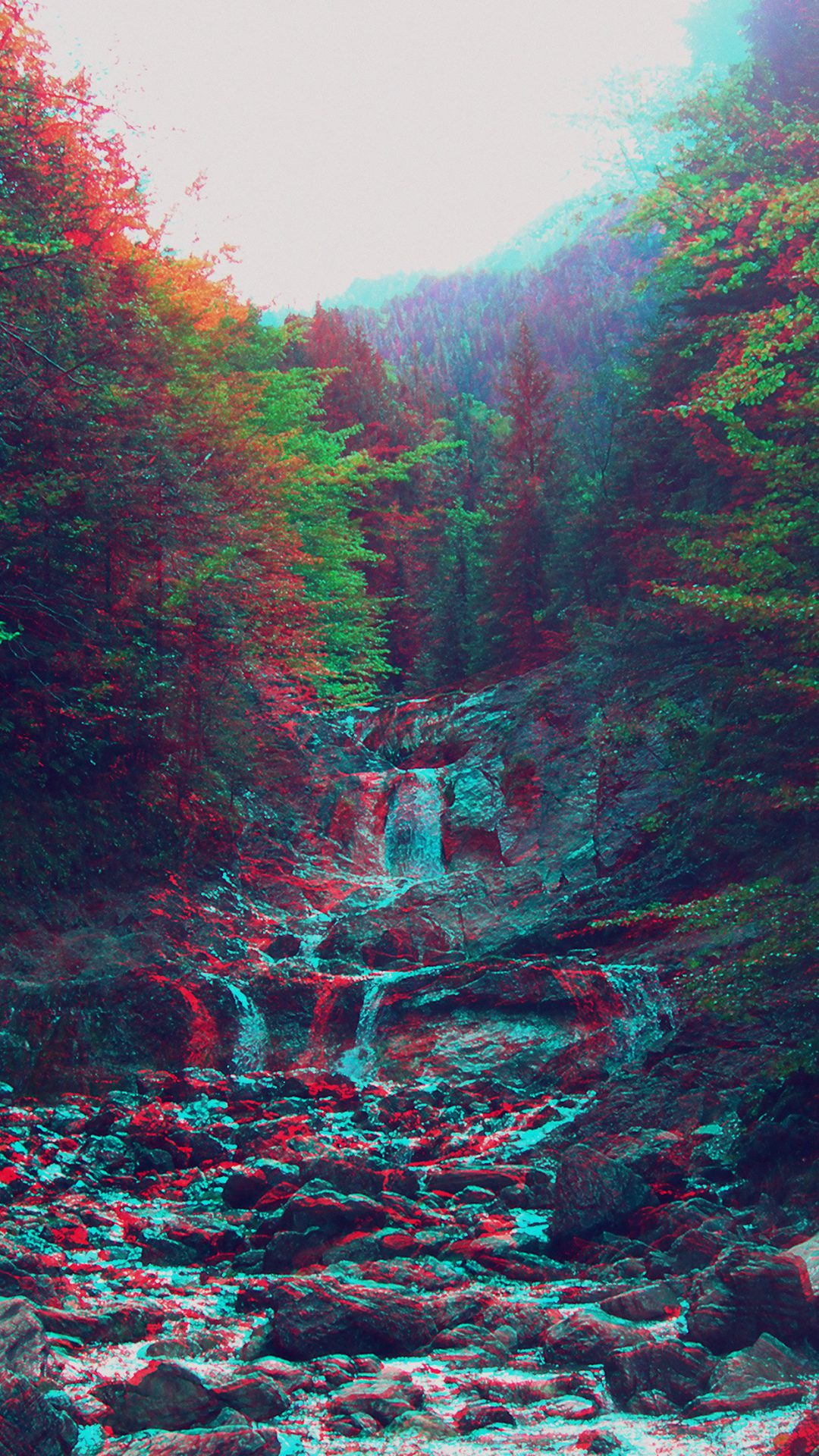 Anaglyph Mountain Green Nature Art