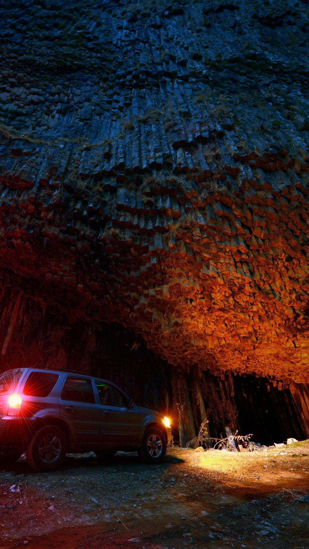 Armenia Garni Dark Wood Mountain With Car Nature