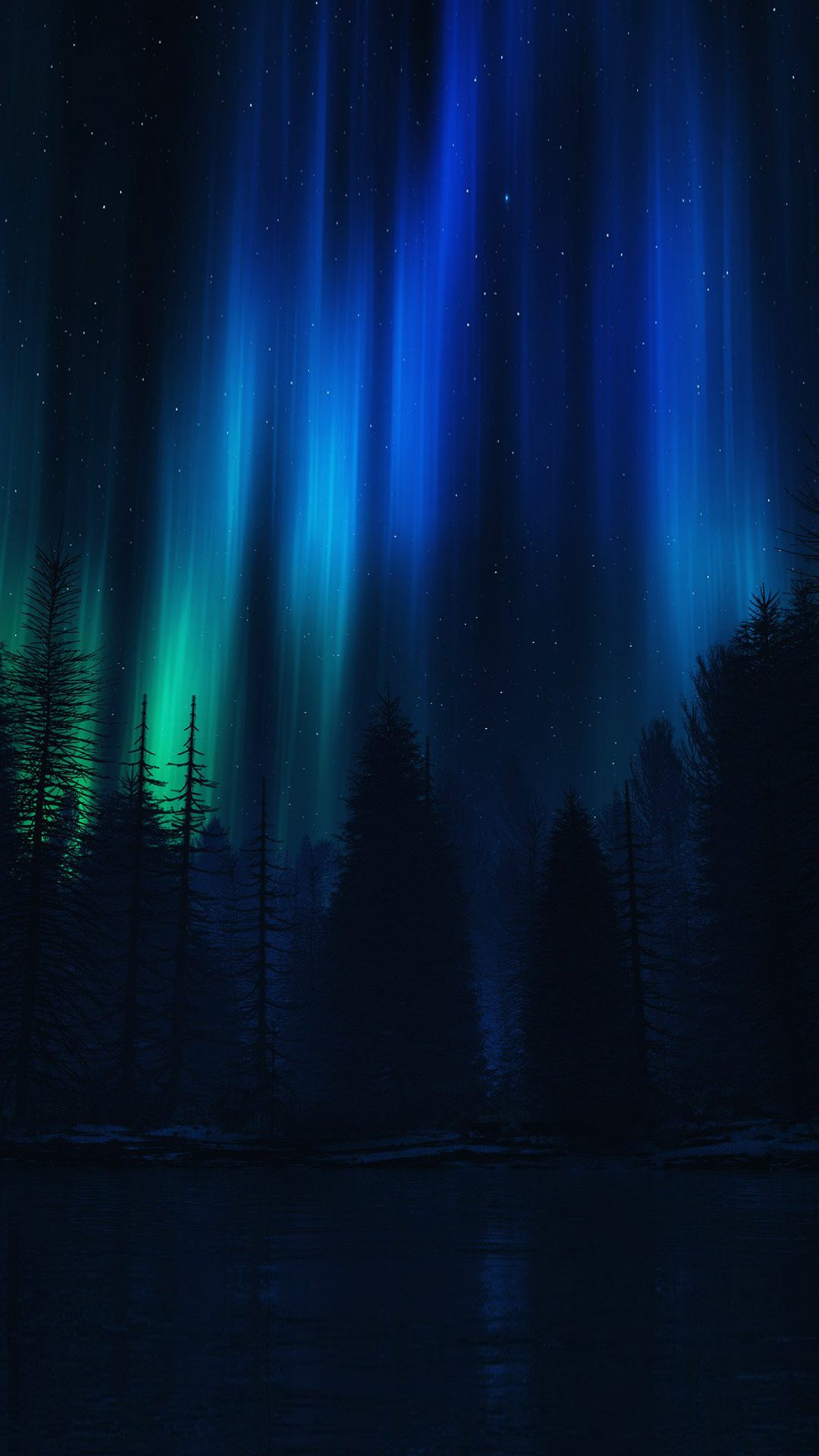 Aurora Night Sky Dark Blue Nature Art