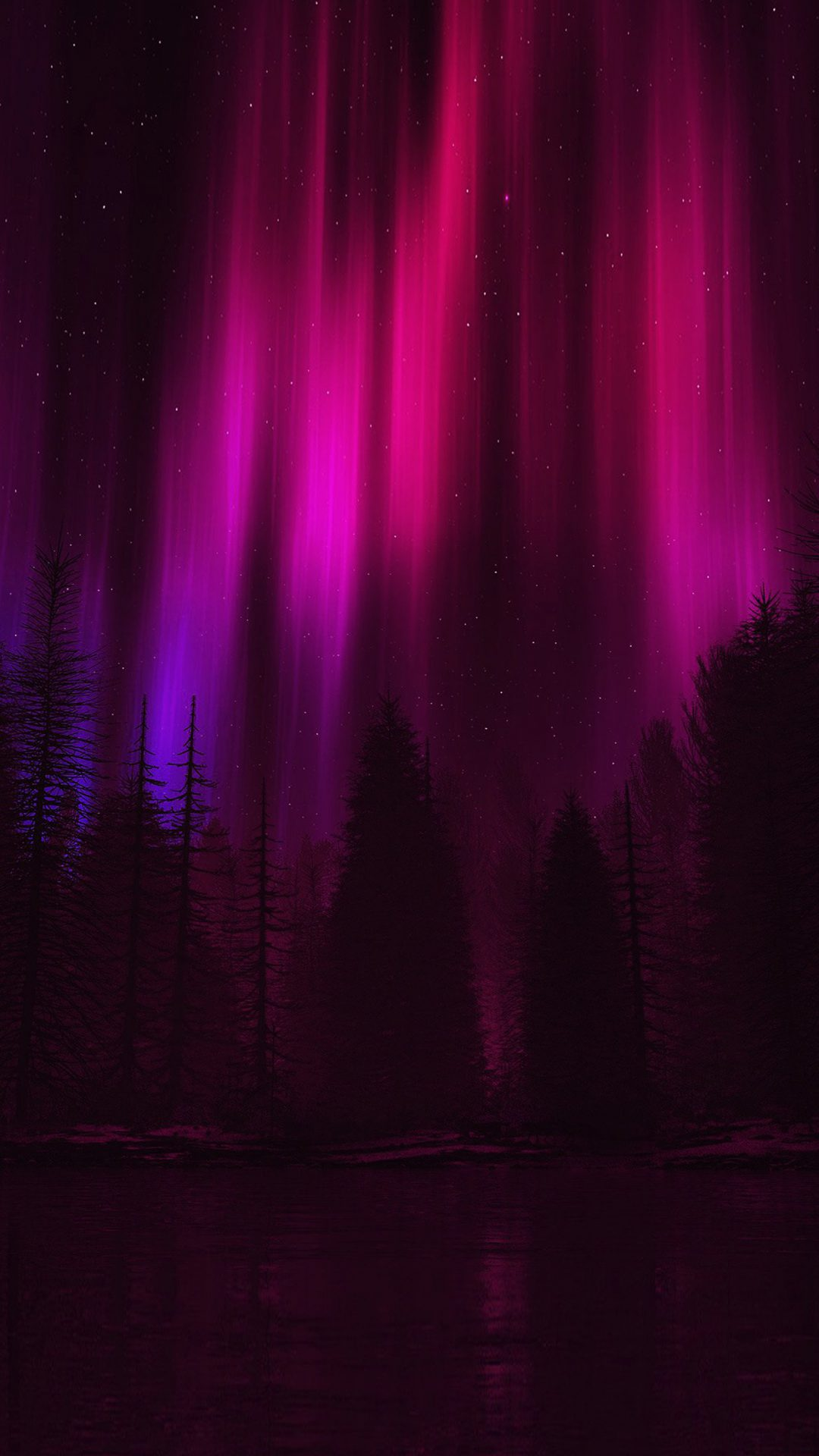 Aurora Night Sky Dark Red Nature Art