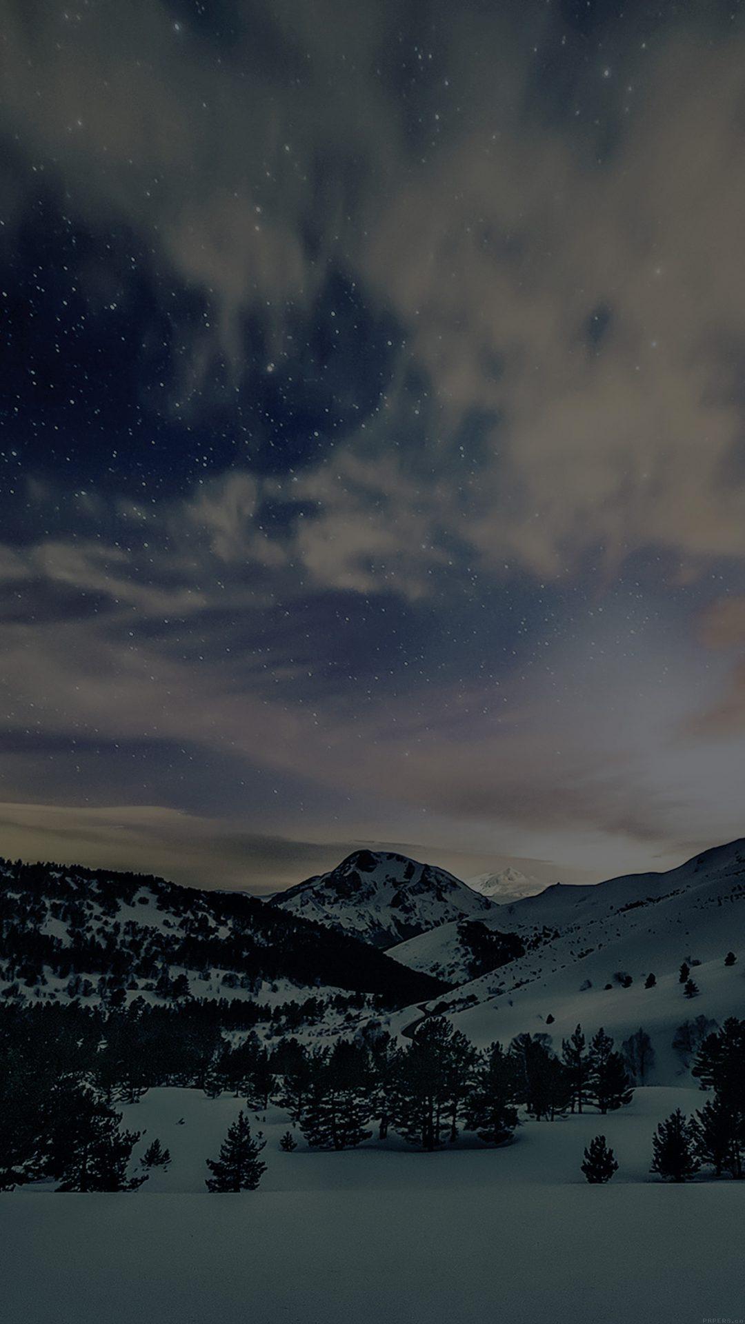 Aurora Star Sky Snow Dark Night Mountain Winter Nature