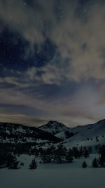 Aurora Star Sky Snow Dark Night Mountain Winter Nature