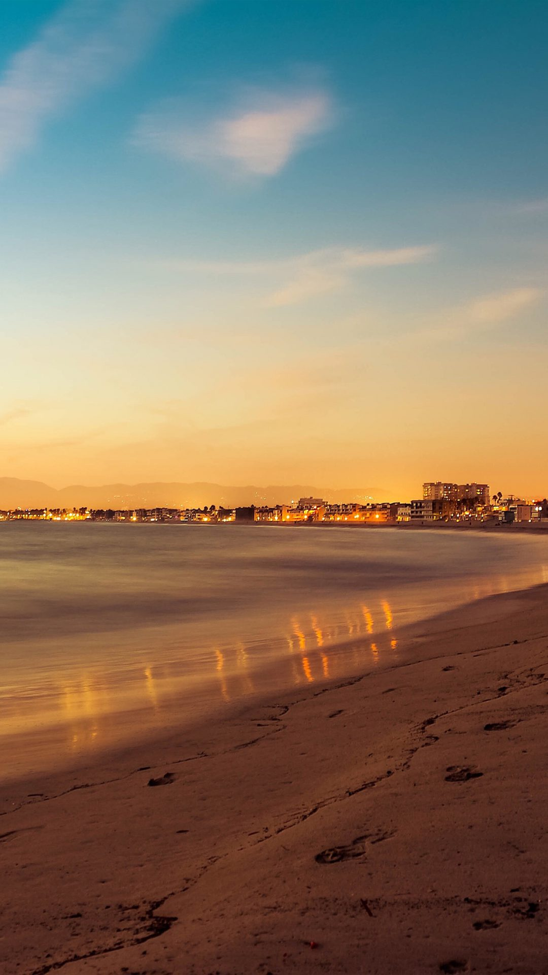 Beach Summer Night Sunset Orange Sea Nature