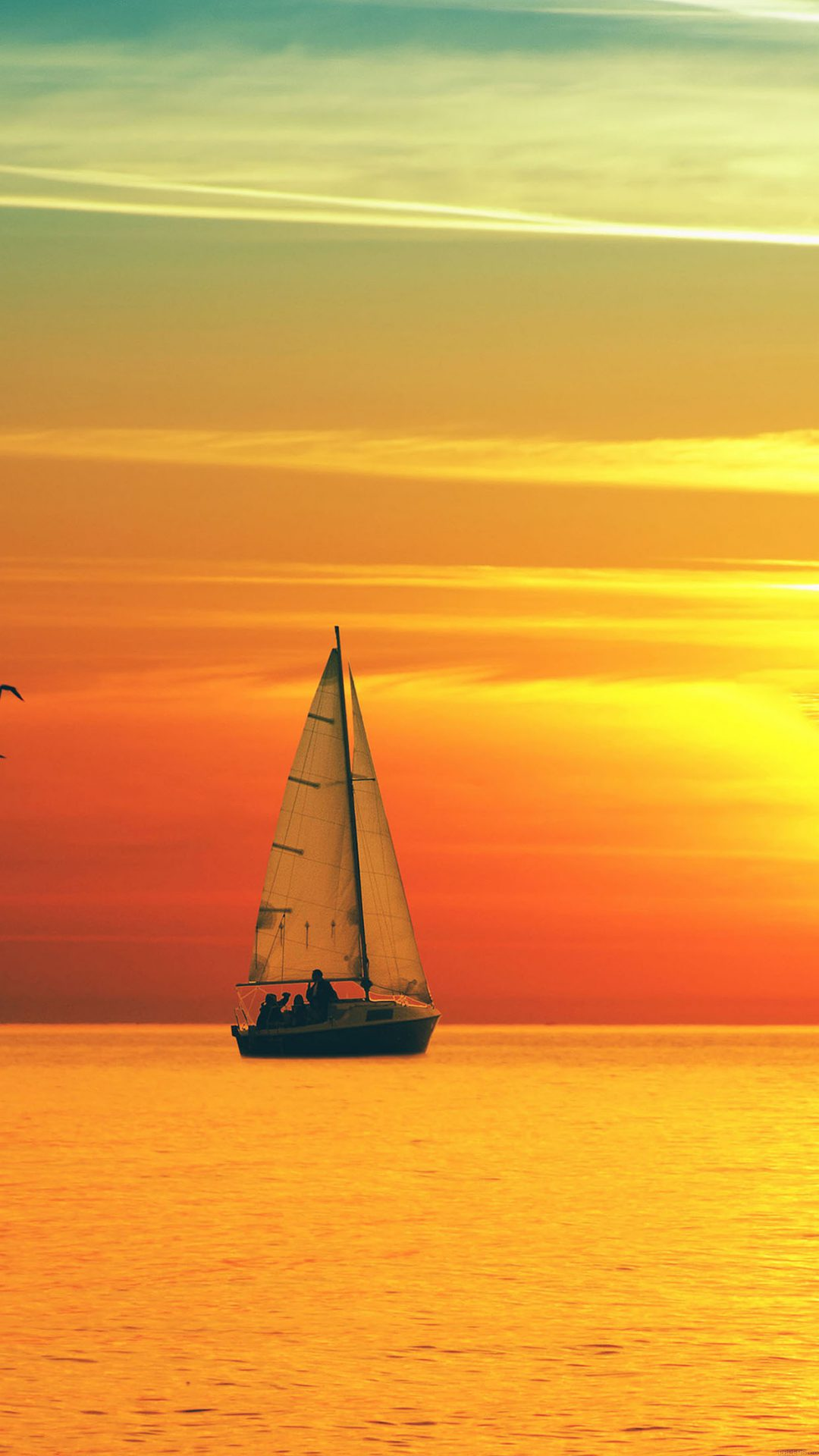 Boat At Sunset Sea Nature