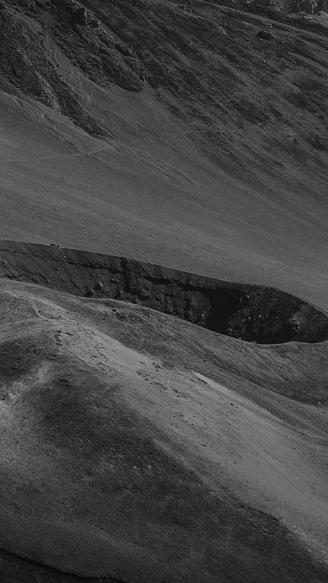 Crater Mountain Dark Bw Nature