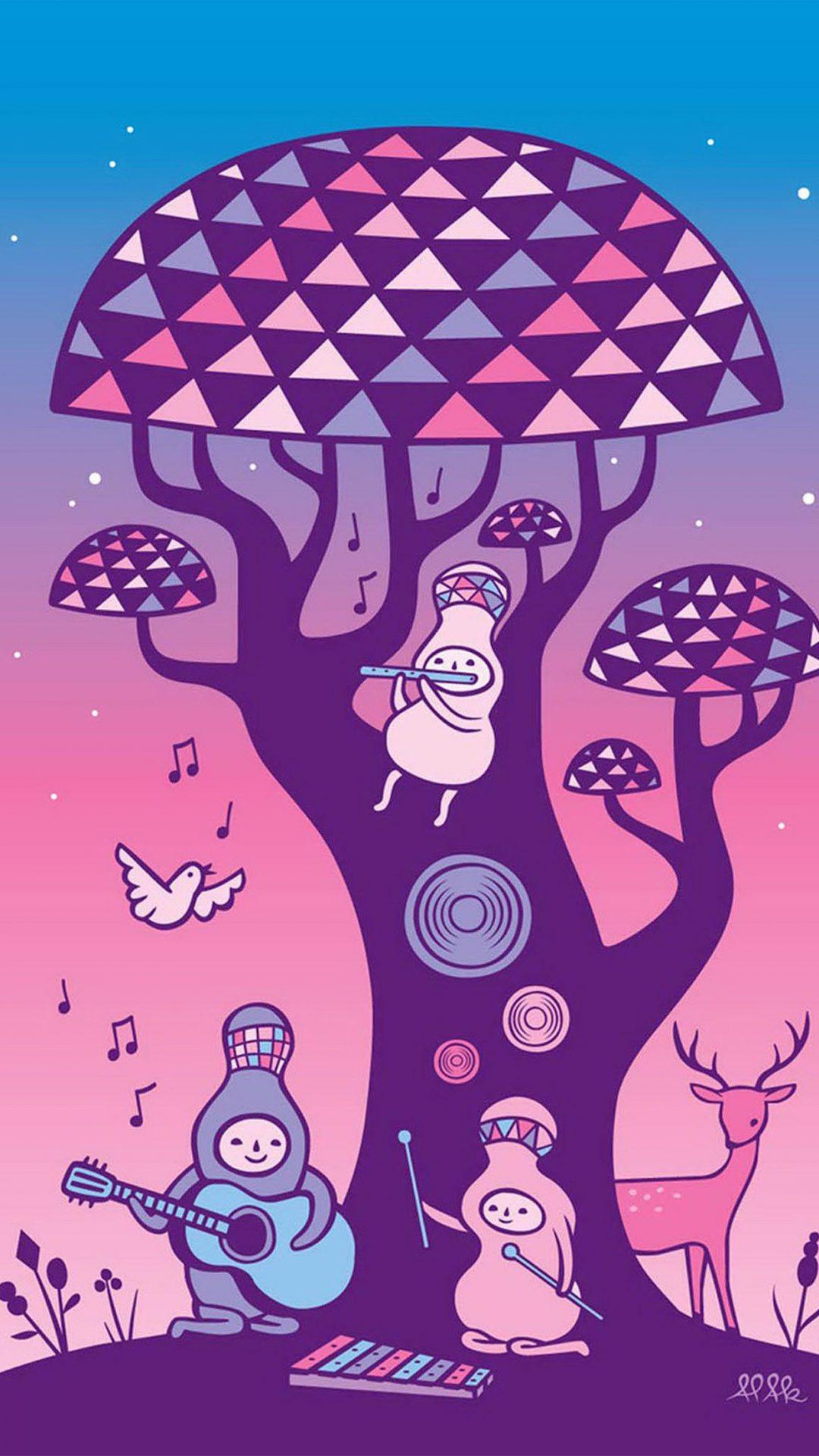 Cute Music Characters Illustration Art