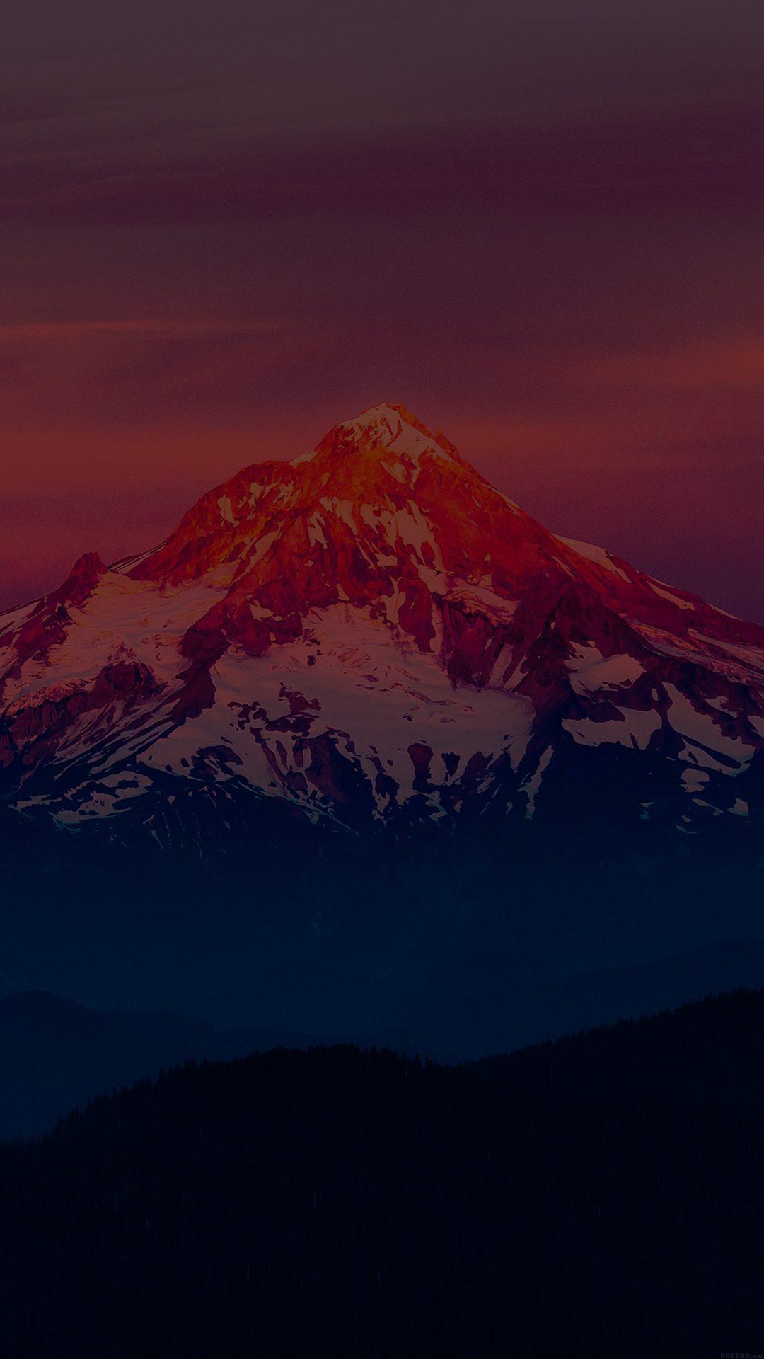 Dark Sunset Snow Mountain Nature
