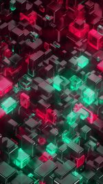 Digital Art Green Red 3d Pattern
